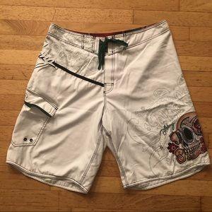 Billabong Men's White Board Shorts Skull